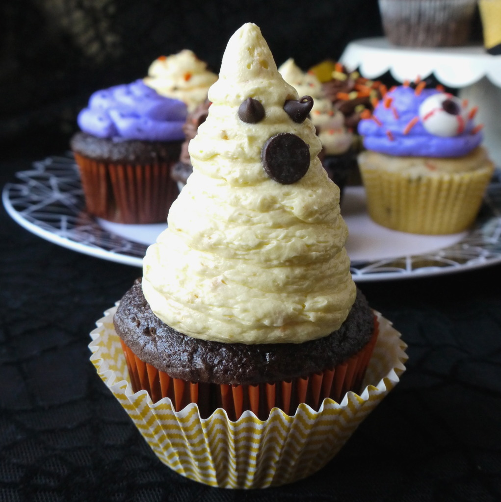 Ghost Cupcake made with homemade Orange Buttercream Frosting